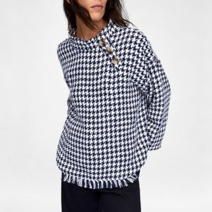 Zara Woman Houndstooth Woven Blouse